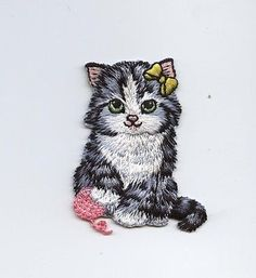 Iron-On Applique Embroidered Patch Cat with yellow bow and pink yarn ball
