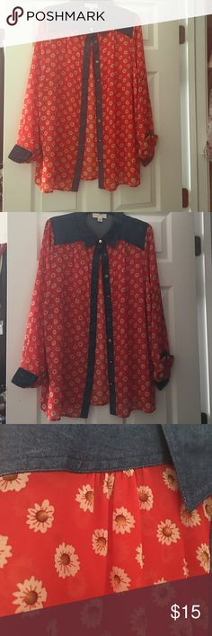 Plus size Western Style Blouse Plus size Western Style Blouse with Floral prints and denim detailing. Only worn once. Forever 21 Tops Button Down Shirts