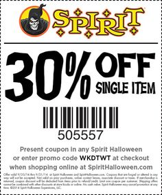use this special off single item coupon at your local spirit halloween store today this spooktacular offer isnt valid for long