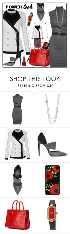 """""""Power Look - Office"""" by sheryl-lee ❤ liked on Polyvore featuring Dsquared2, Simply Vera, Balmain, Calvin Klein, Casetify, Yves Saint Laurent, Marc Jacobs, OPI and TrackR"""