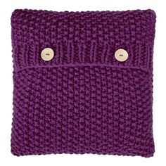 "16 x 16"" Hand made purple knitted cushion from Courtyard Boutique 
