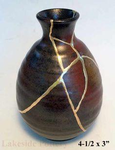 kintsugi also called Kintsukuroi - bizen pottery restored