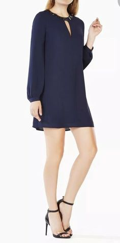 1c89ee58368 Details about NWT BCBGMaxAzria Janessa Navy Blue Beaded Dress Size XS New  Longsleeve
