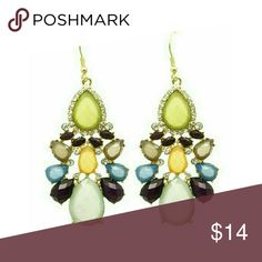 """Gemstone blue & mint green statement earrings Gorgeous gold tone earrings dazzled with translucent lucite gems done in blues, greens and yellows. 2"""" long. Brand new. Jill Marie Boutique Jewelry Earrings"""
