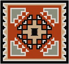 This cross stitch pattern features a design taken from a vintage Navajo rug