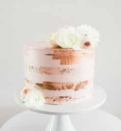 semi naked cake with rose gold details