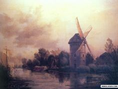 Edward William Cooke, The Mill on the Old Rhine near Leiden