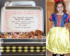 Snow White party game! So cute!! The tin could be the invite to the party?  You could fill it with candy and beads, so they would be trickier to figure out which one were for the necklace... Fun!
