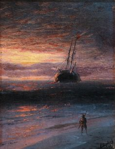 Fisherman on the Beach in the Evening Light by Ivan Konstantinovich Aivazovsky