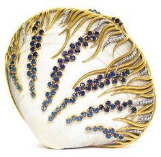 Verdura compact made from a natural shell, gold, diamond and sapphire.  <3<3<3STUNNING<3<3<3 @
