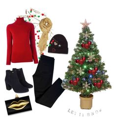 """December Christmas"" by gsitorus on Polyvore featuring J Brand, Miss Selfridge, Monsoon, Charlotte Olympia, Merske, John Lewis and Allude"