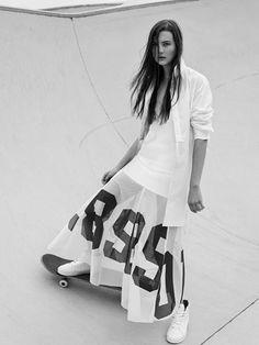 compact cotton longer line shirt   http://bssk.co/1EDWpuQ  numbers on mesh skirt   http://bssk.co/1E7oKYd