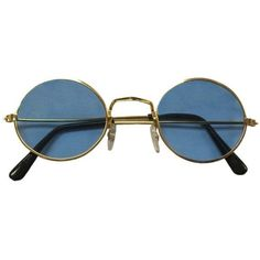Beatles John Lennon Round Light Blue Lens Sunglasses ($5.25) ❤ liked on Polyvore featuring accessories, eyewear, sunglasses, glasses, fillers, accessories - glasses, round glasses, blue light glasses, round lens glasses and lens sunglasses