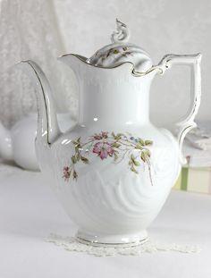 Gesetzlich Geschutzt Porcelain, Antique European Chocolate Pot, Tea or Coffee Pot, Tall Tea Pot 12472