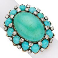 Turquoise, Diamond, Gold Ring