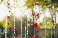 Easy decorations!! Hanging Crystals & Flowers- perfect for an outdoor mountain wedding:)