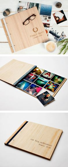 Instagram Photo Album | Wood Wedding Album | Wedding Scrapbook | Engagement Gift | Holiday Album | 4x4 | Great Christmas gift for photography lovers | Design by Lorgie