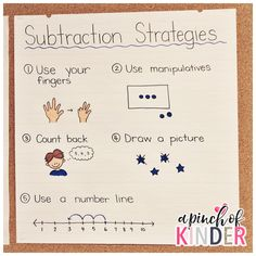 Teaching Subtraction in FDK Hi guys! Today I'm sharing my subtraction lesson plans & activities from this year. I hope this can give you some ideas for planning you… Subtraction Strategies, Subtraction Kindergarten, Kindergarten Anchor Charts, Subtraction Activities, Math Strategies, Teaching Kindergarten, Math Activities, Teaching Ideas, Teaching Outfits