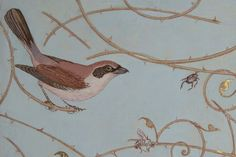 """MURAL - Shrikes, Rollers and fragments of ornamental rose branches on some new painted panels for the entrance hall of """"Schoonoord House"""", an 1870's Arts & Crafts monument in Abcoude NL - Peter Korver   Amsterdam 2011"""