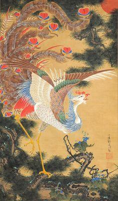 「孔雀鳳凰図(双幅)」の鳳凰図(岡田美術館蔵)