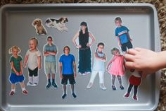 magnet story board cookie sheet , great for long car tips with kids ~ print photos of your family and friends on 4 x 6 photo paper, adhered them (trimmed down) to adhesive magnet sheets and cut closely along the edges to create your magnets