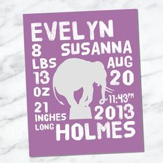 Printable Download Birth Announcement Wall Art 8x10 - Baby Stats - Name Date Weight Length Time - Birth Info - Newborn CM3103 elephant
