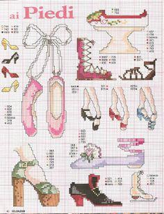 point de croix diverses chaussures de femme- cross-stitch several types of woman's shoes