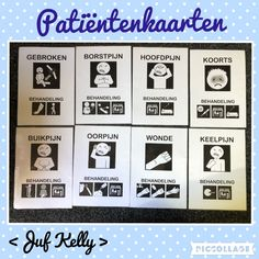 Patiëntenkaarten  Te gebruiken in de doktershoek De patiënt geeft aan waar hij/zij pijn heeft. De dokter kan door op de kaarten te kijken de juiste behandeling toepassen.