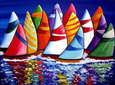 """Renie Britenbucher's use of color is unparalleled!! So vibrant and bold, I could stare at her work all day! """"Colorful Sailboats Whimsical Folk Art Painting"""""""