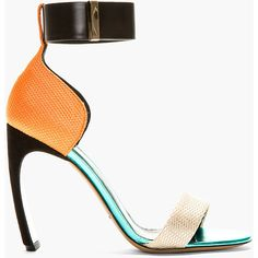 Nicholas Kirkwood Orange & Gold Horn Heel Sandals (€625) ❤ liked on Polyvore featuring shoes, sandals, heels, gold heel sandals, metallic gold sandals, high heel sandals, high heel shoes and metallic sandals