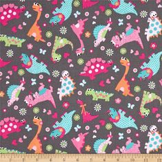 Girly-o-Saurus Dino Collage Multi from @fabricdotcom  Designed by Studio37 for Marcus Fabrics, this cotton print fabric from the Girly-O-Saurus collection is perfect for quilting, apparel, and home decor accents, especially a toddler's room, playroom, or baby's nursery. Colors include shades of pink, lime green, aqua, orange, and white.