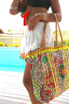 Pom Pom bags/Beach bags/Yoga bag/Thai bags/Travel por JavaSpirit