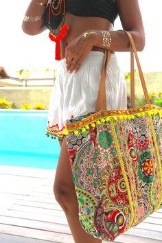 Pom Pom bags/Beach bags/Yoga bag/Thai bags/Travel por JavaSpirit