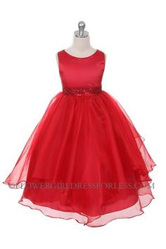 This is a great website for dresses!  Classic beauty with extra flare. We love this style because it can be worn from event to event. So much versatility! This is a style that is timeless and can be passed from one generation to the next. The sleeveless satin and organza dress has a gorgeous bead embellished waist that gives the style pizzazz. The sash is attached at the side seams and ties in the back to your desired fit. ! Proudly made in the USA.