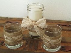 Rustic Wedding Candle Holders / Burlap  by SouthburyTreasures, $28.00