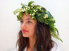 Green leaf crown Lana del ReyBabies breath by BlackSwanFeather Leaf Crown, Green Leaves, Headpiece, Trending Outfits, Unique Jewelry, Etsy, Vintage, Headdress, Costume Jewelry