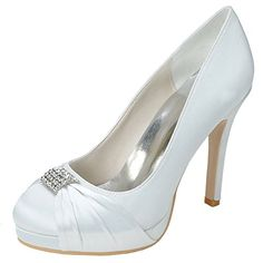 LOSLANDIFEN Womens Satin Round Toe Pumps Pleated Vamp With Rhinestones High Heel Bridal Wedding Shoes691504Silk38White *** Want to know more, click on the image.-It is an affiliate link to Amazon. #WeddingShoes