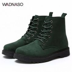 WADNASO Ankle Lace Up Flat Martin Boots