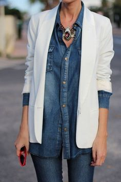 Fashion trends | Denim shirt over denim with statement necklace and white blazer…