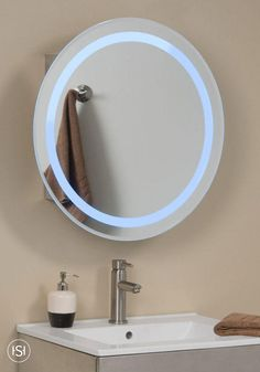 The Lucent Round Stainless Steel Medicine Cabinet will make a great addition to any contemporary bathroom. Its mirror is accented by a blue halo of light, while the interior shelving will provide ample storage for your bathroom necessities.