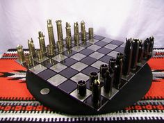 50 CALIBER BULLET shell chess set with steel board by OldeWorldCC