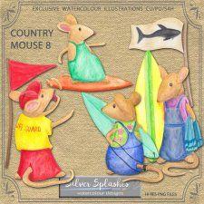 EXCLUSIVE Country Mouse 8 Watercolour by Silver Splashes #CUdigitals cudigitals.comcu commercialdigitalscrapscrapbookgraphics #digiscrap