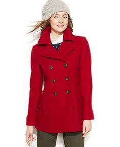 Tommy Hilfiger Double-Breasted Pea Coat - Coats - Women - Macy's  - red - medium