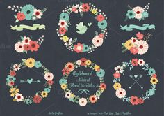 Chalkboard Natural Floral Wreaths 3 by Delagrafica on Creative Market