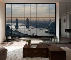 AWM11 - Large window wall view over London. Apartment view style mural