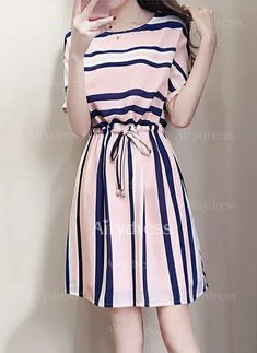 Dress - $9.99 - Stripe Wrap Short Sleeve A-line Dress (1955212573)