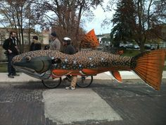 popular top 20 - Time Based Andrew Rockwood - Trout Bike - The Trout Bike is a 16 feet long by 5 feet high by 3 feet wide BROOK TROUT made of cardboard refrigerator boxes, paper mache' and old lawn chair parts, mounted on a bicycle. It is painted in the vivid colors and patterns of our native brook trout, using leftover house paint.