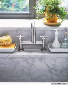 Kitchen Sink Organziner  To keep your kitchen sink uncluttered, shop flea markets or housewares stores for pretty little trays to hold sponges, brushes, and dish and hand soap; the trays minimize spillover to the countertop and enable you to remove multiple small items quickly when you need to clear the sink. Let items serve double duty. When you have only a few things to wash, use a wire rack atop a sheet pan to drain dishes. They vanish into the cupboard after dishes dry, leaving valuable…