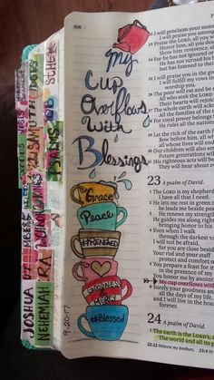 Psalm 23:5  My cup overflows with Blessings!  Bible art  Bible journaling Tea cups  DIY tabs Bible Tabs