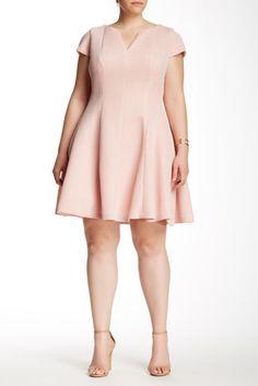 Julia Jordan V-Neck Fit & Flare Dress (Plus Size)